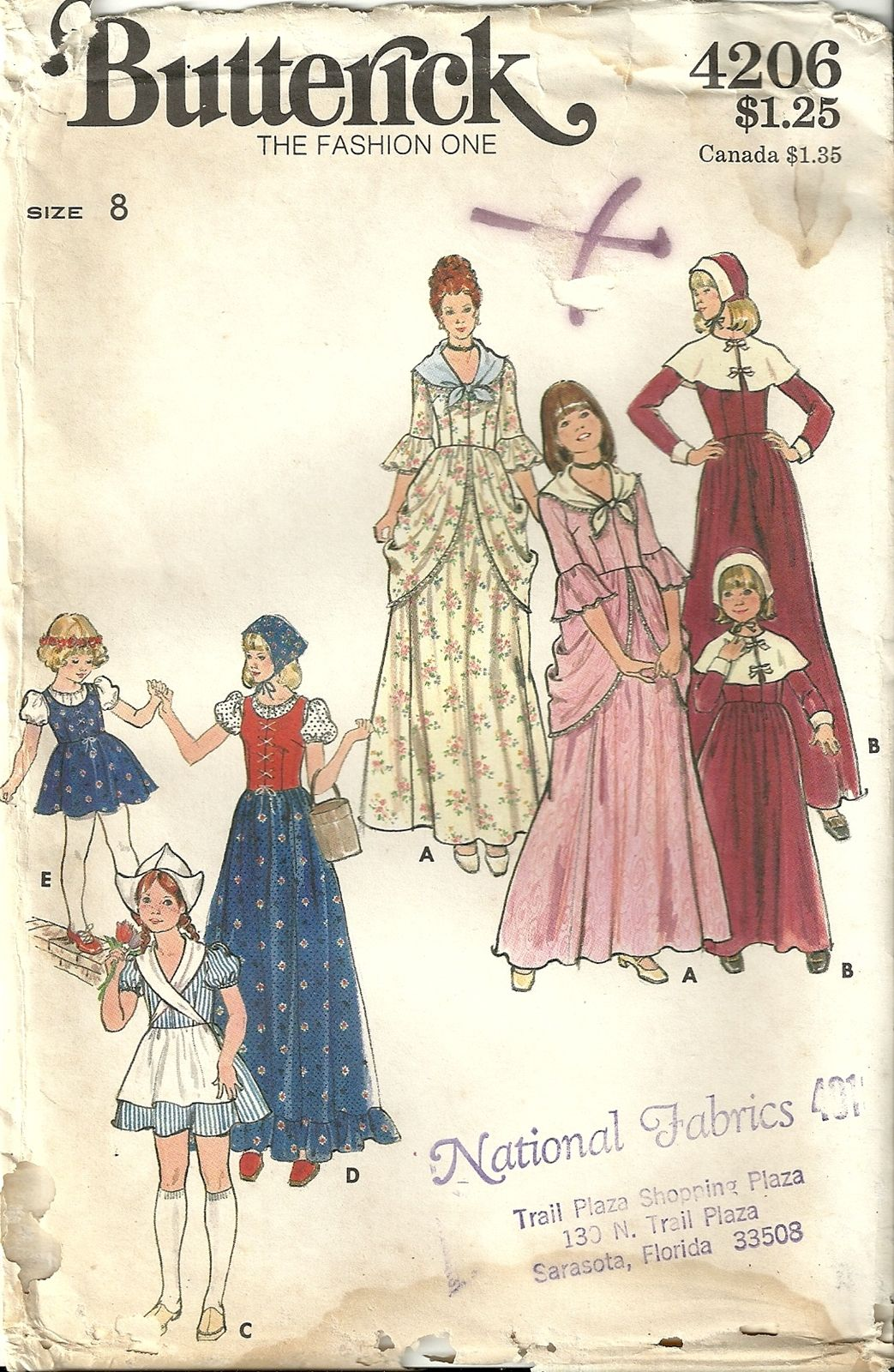 Butterick 4206 Girls Pioneer Colonial Dutch Gypsy Pilgrim Costume Sewing Pattern Size 8  sc 1 st  Pinterest & Butterick 4206 Girls Pioneer Colonial Dutch Gypsy Pilgrim Costume ...