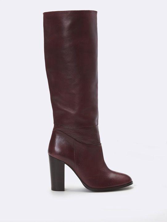 Taille 5 en cuir rouge longueur genou bottes femmes en doux cuir veau.   Enfiler Style.-afficher le titre d'origine