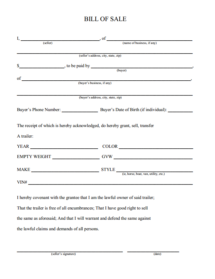 Printable Sample Champer Bill of Sale Form – Basic Bill of Sale Template