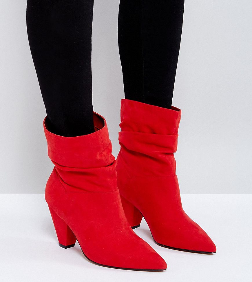 77aa6a283a78 ASOS REEVES Wide Fit Slouch Heeled Ankle Boots - Red