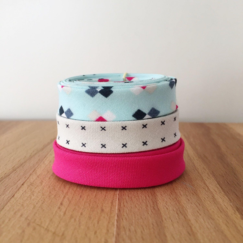 Bias Tape Remnant Pack- 3 Different Cotton Designer Fabric