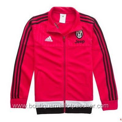 Veste de foot pas cher Adidas Juventus 2016 Rouge Noir