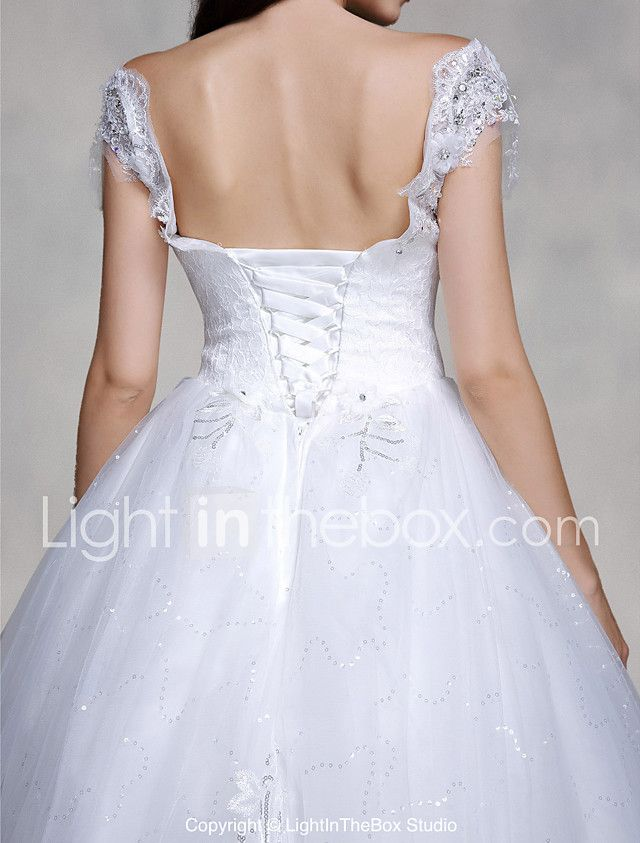 A-Line V-neck Chapel Train Lace Tulle Wedding Dress with Beading ...