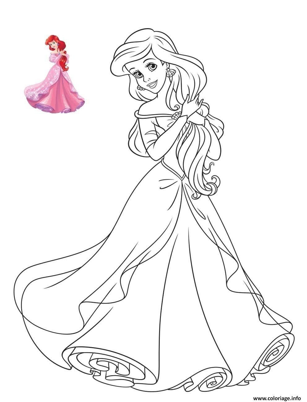 Coloriage De Princesse Disney Ariel  Disney princess coloring