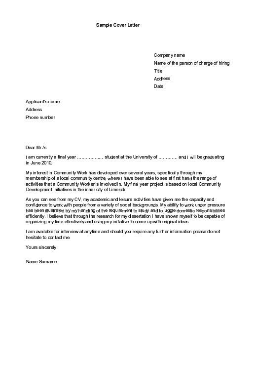 Sample Cover Letters For Employment  Sample Cover Letter For