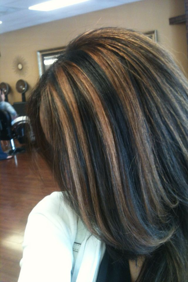 Dark Natural Base With Dark Caramel Highlights Black Hair Caramel Highlights Hair Styles Hair