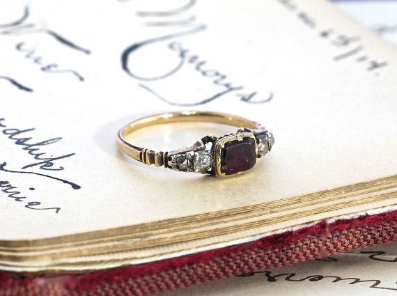 Georgian Garnet and Diamond Ring Antique by TheEdenCollective