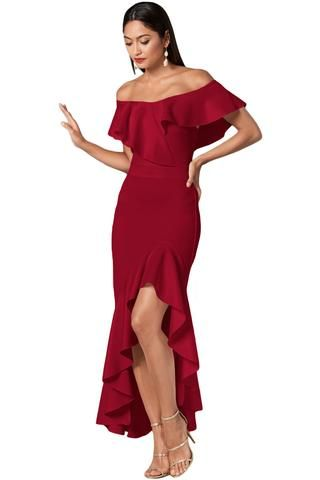 131aaec4bb8a Burgundy Ruffled Off Shoulder High Low Mermaid Dress Yellow Evening Dresses