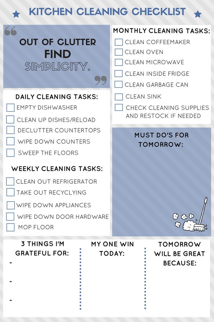 Kitchen Cleaning Routine | Cleaning checklist, Organizing and Homemaking