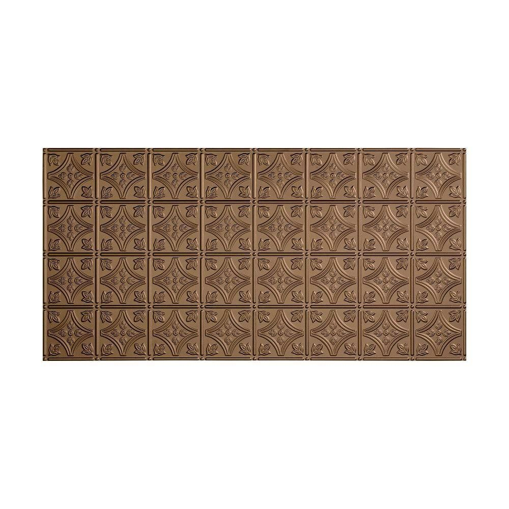 Fasade Traditional 1 2 Ft X 4 Ft Glue Up Ceiling Tile In Argent Bronze Pvc Ceiling Tiles Embossed Ceiling Tiles