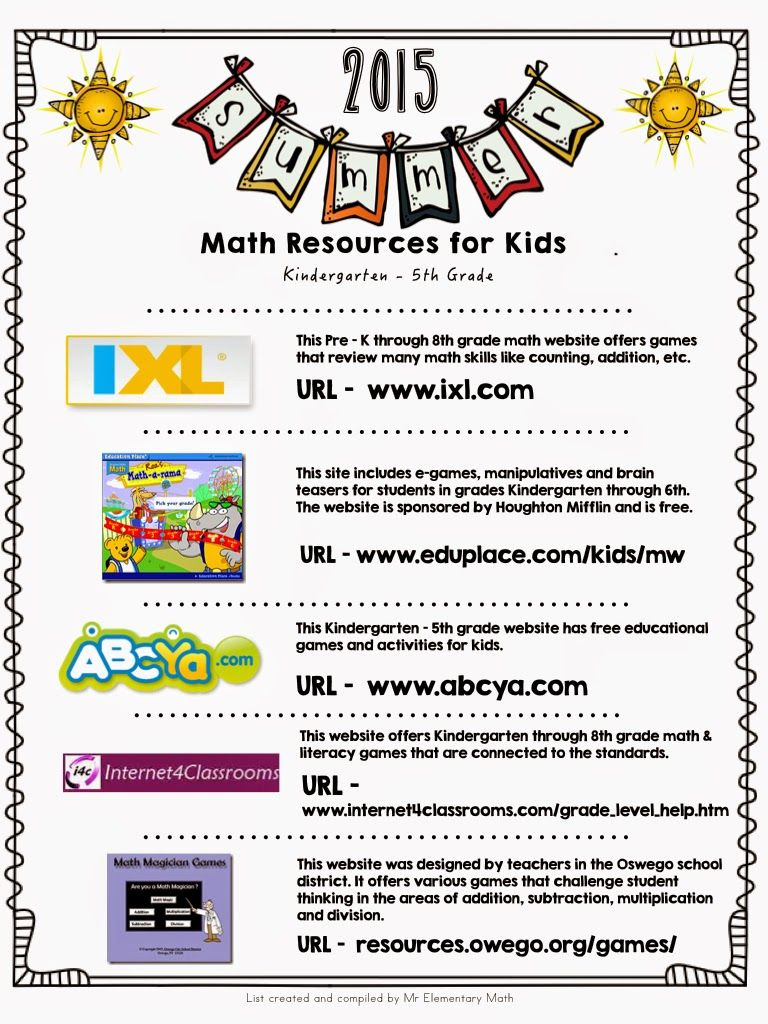 Looking for math websites for the summer? Download this FREE ...