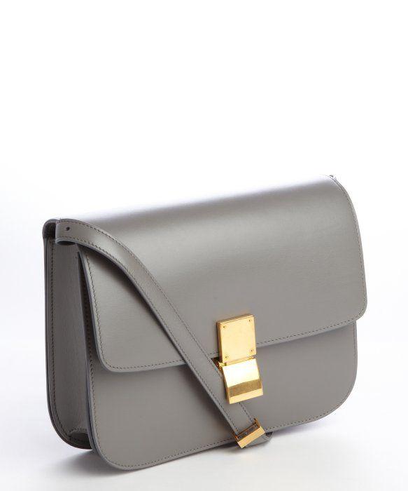f9101befb726 Celine   grey leather  Classic Box  shoulder bag   style   329219001 ...