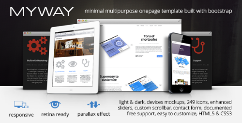 Myway Onepage Bootstrap Parallax Retina Template Download Myway Is Clean Onepage Html5 Multipurpose Template Designed For A Template Site App Landing Page Templates