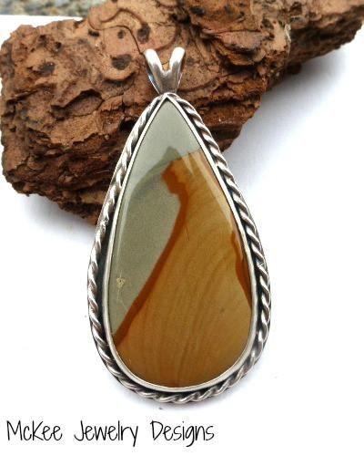 Jasper gemstone in sterling silver bezel with sterling silver wire twist detail pendant. -  - McKee Jewelry Designs - 1