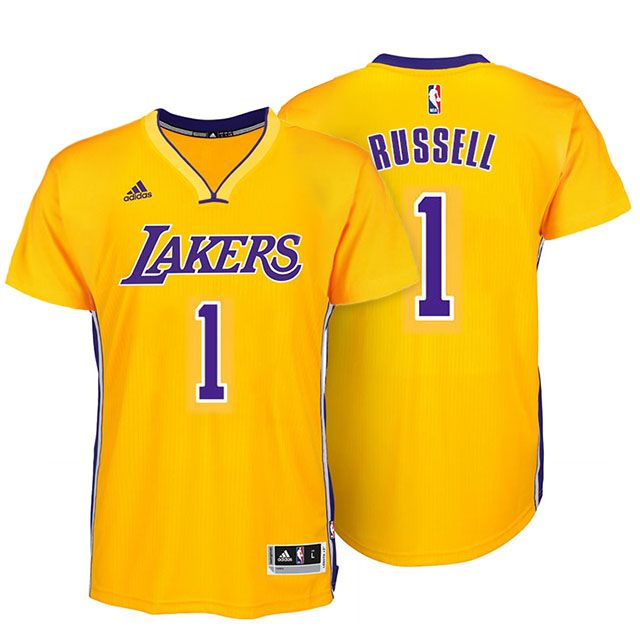 6e4a20055 lakers  1 d angelo russell new swingman gold short sleeves jersey ...