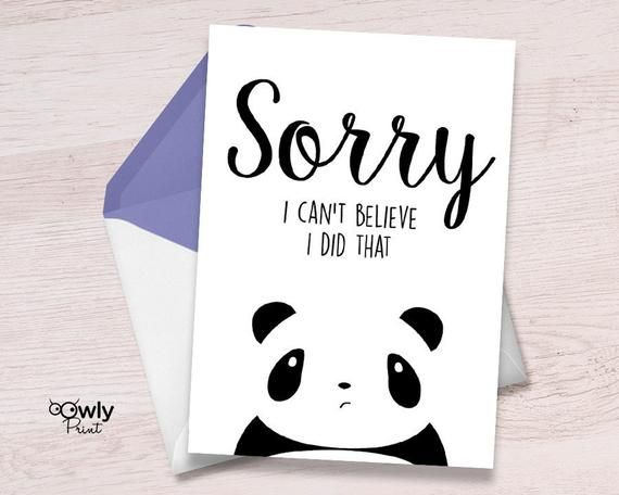 graphic about Printable Sorry Cards referred to as Printable Panda Sorry Card. Geared up in direction of print Apology Card