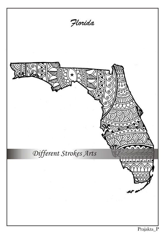 Florida Map Coloring Page For Adults Usa Map Art Printable Map