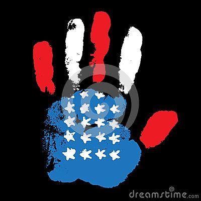 Handprint USA flag on black background