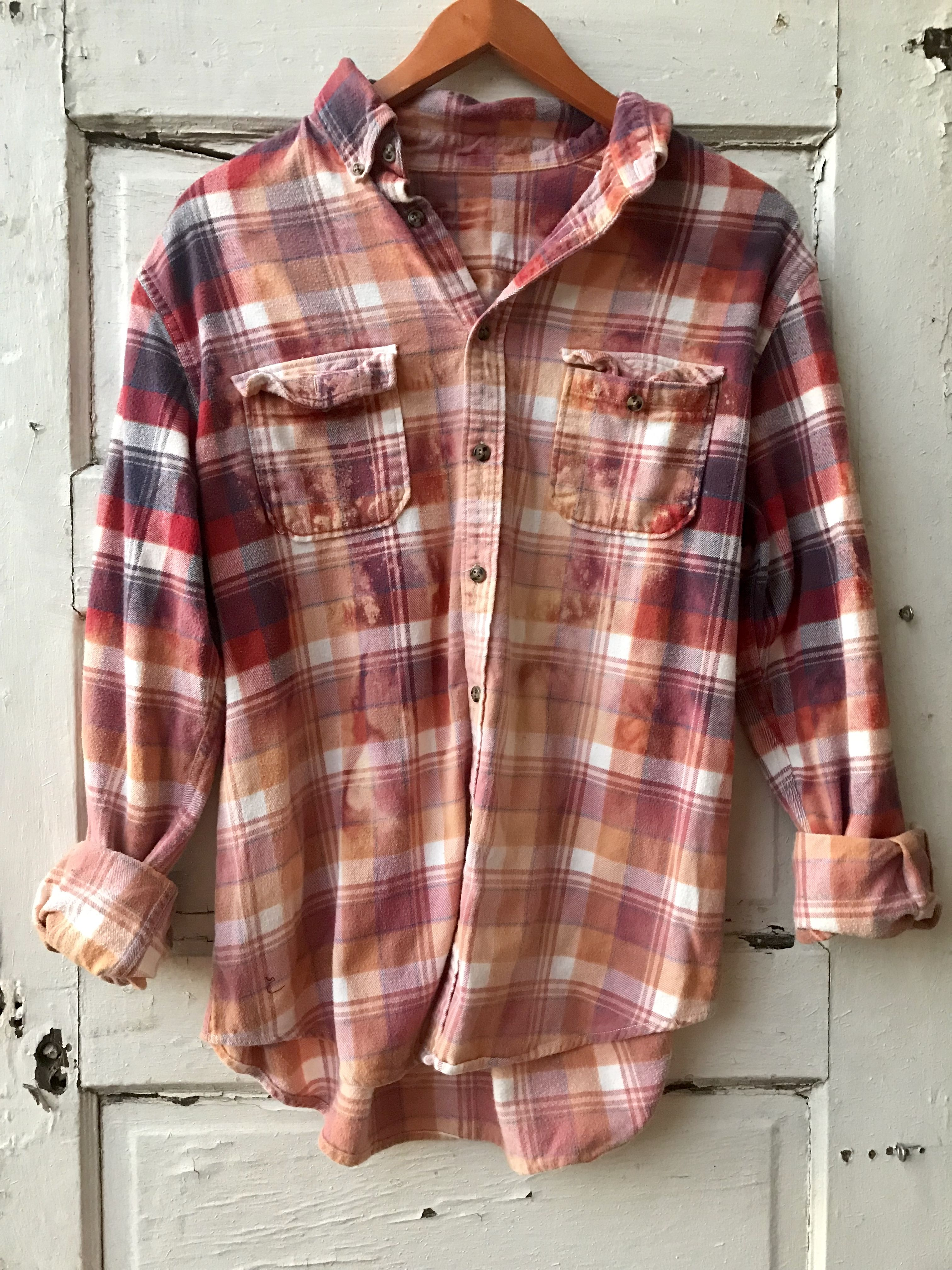 3e5522035bad Large Distressed Flannel | Distressed Vintage Flannels | Ladies ...