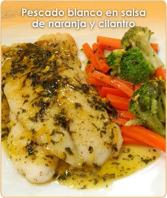 PESCADO BLANCO EN SALSA DE NARANJA Y CILANTRO  recetas