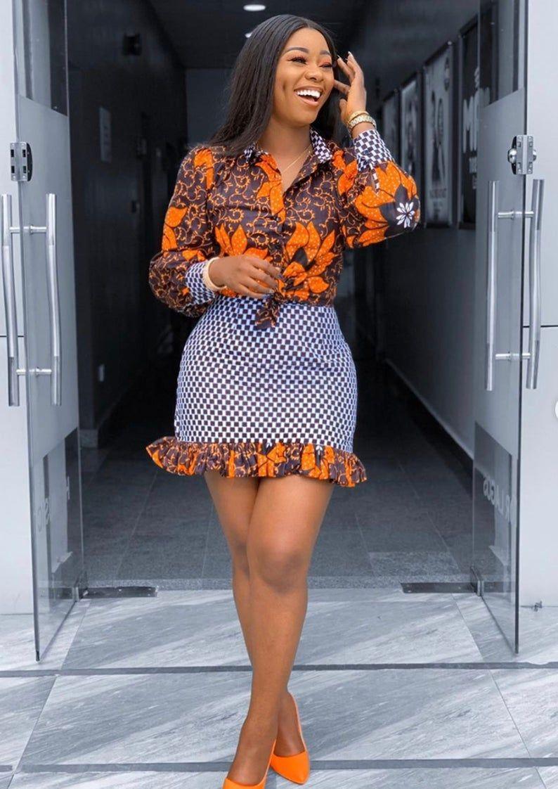 African Clothing for Women, Ankara Shirt, African Print Skirt, Mini Skirt, Africa Dress, African fashion, Dress for Women, Africa Two Piece