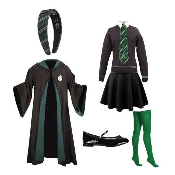 Slytherin School Uniform Outfit liked on Polyvore featuring slytherin and harry potter ...