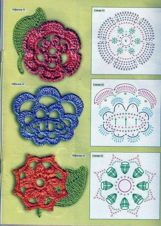 Flowers schemes. Motifs for Irish lace