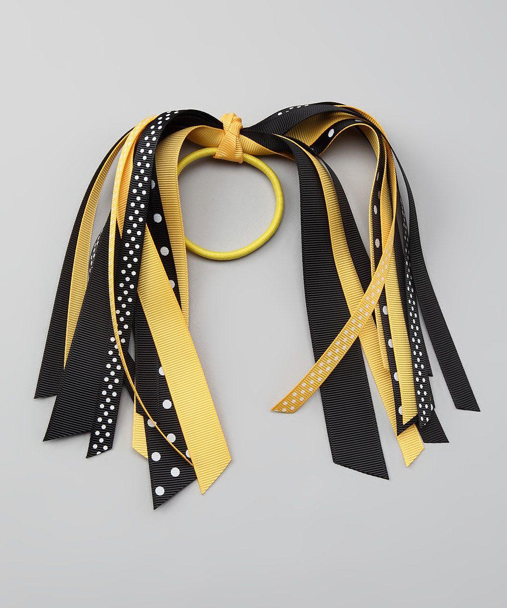 gold & black ponytail streamers