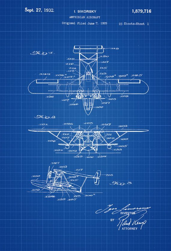 Amphibian Airplane Patent Vintage Airplane Airplane Etsy Airplane Art Vintage Aircraft Vintage Airplane Art