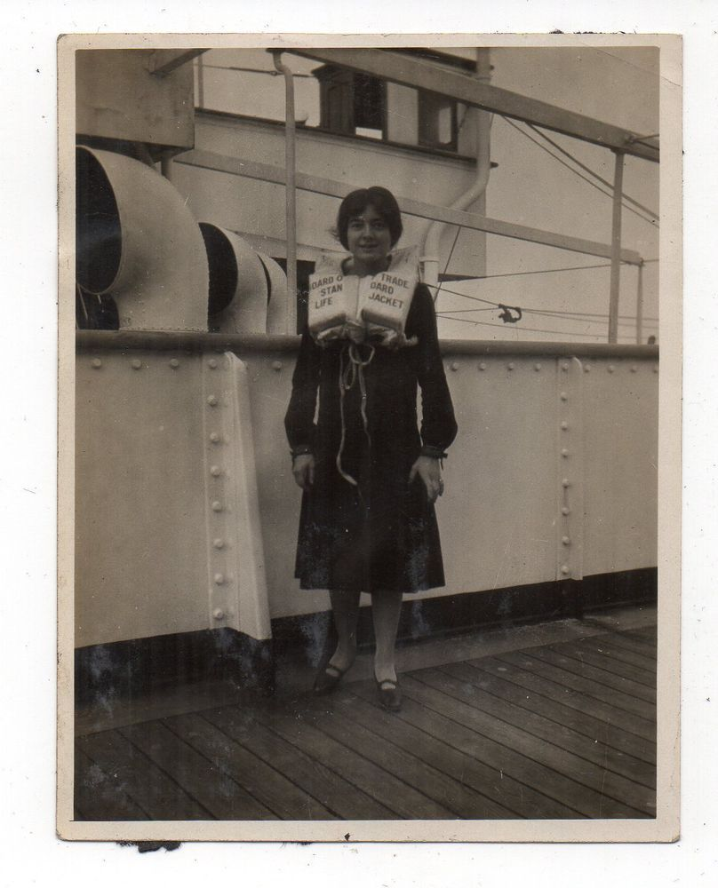 Vtg Photo Young Woman Wearing Life Jacket On Cruise Ship S - 1930s cruise ships