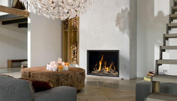 innendesign wohnzimmer rustikaler couchtisch sessel kamin - wohnzimmer modern eingerichtet