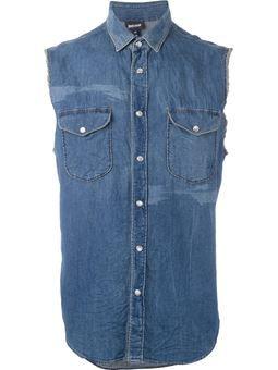 bf6cedafdc Camisa jeans sem mangas