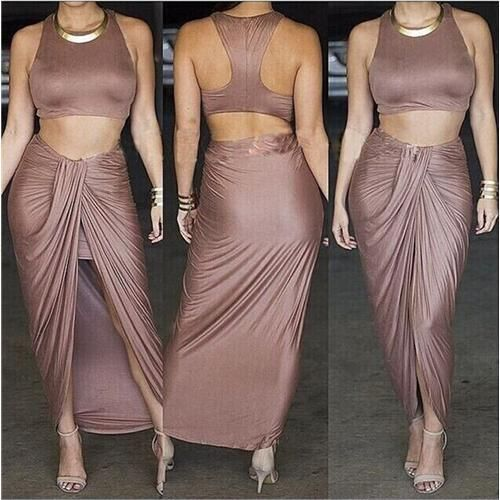 Evening Long Irregularity Dress Women Sexy Crop Top and Maxi Party Dresses Bandage Two Piece Clothing YH05