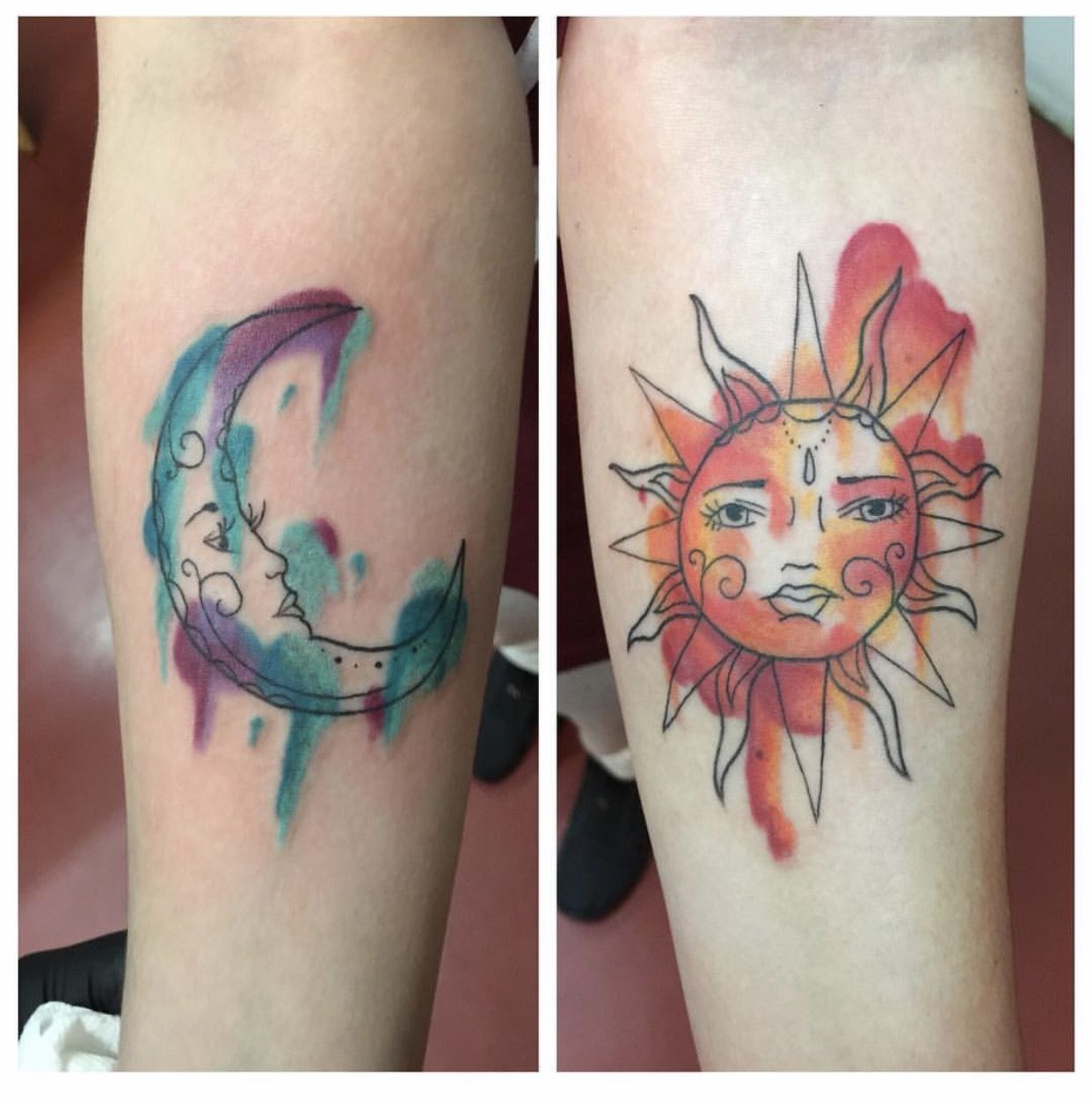 Tattoos sun moon matching watercolor tattoos for Sun and moon matching tattoo