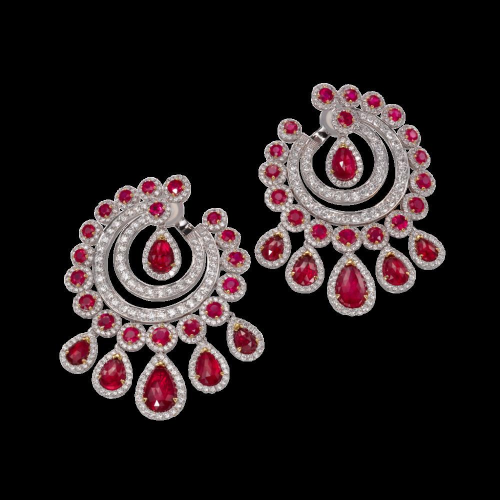 Butani - Ruby and Diamond earrings