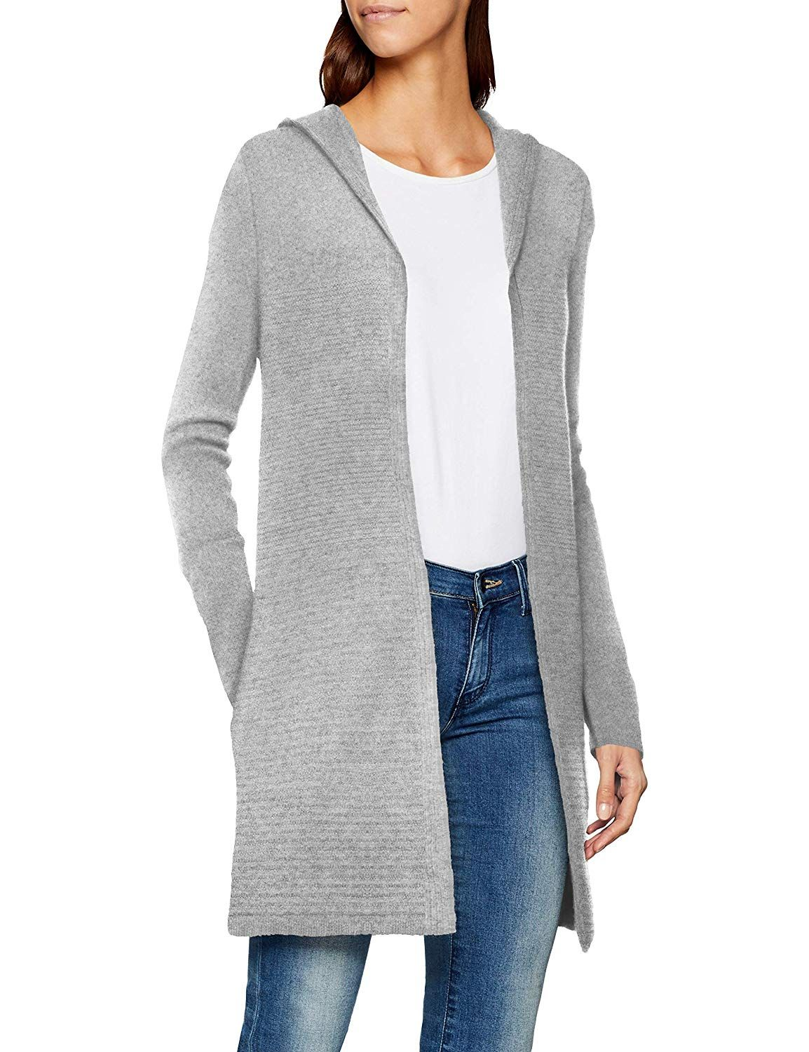 outlet store 47288 b5f0d TOM TAILOR Damen Strickjacke, grauer Cardigan mit Kapuze ...