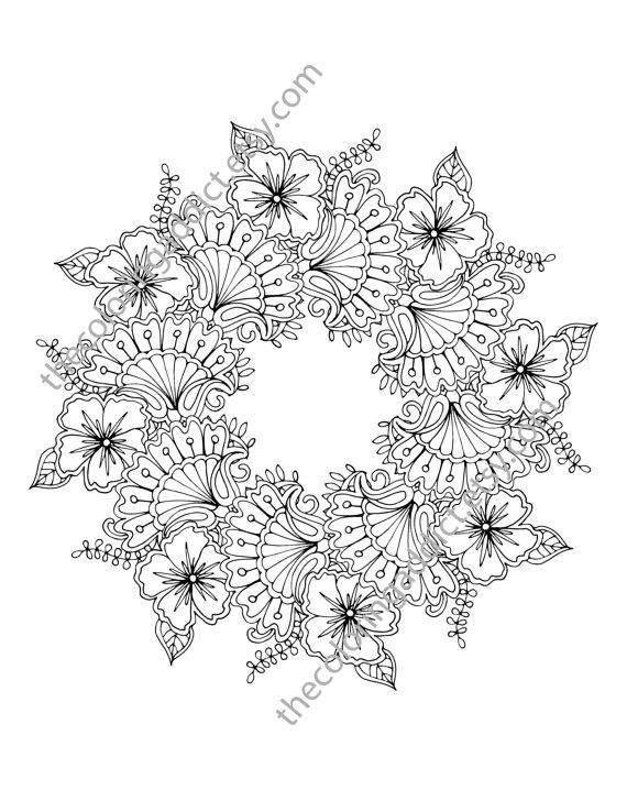 Floral mandala coloring page, adult coloring page, digital flower ...