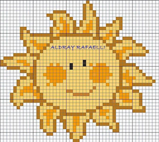 gráfico de sol em ponto cruz