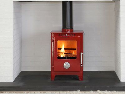 Mendip 5 Enamel Wood Burning Stove Multi Fuel Better With A Silver Flue