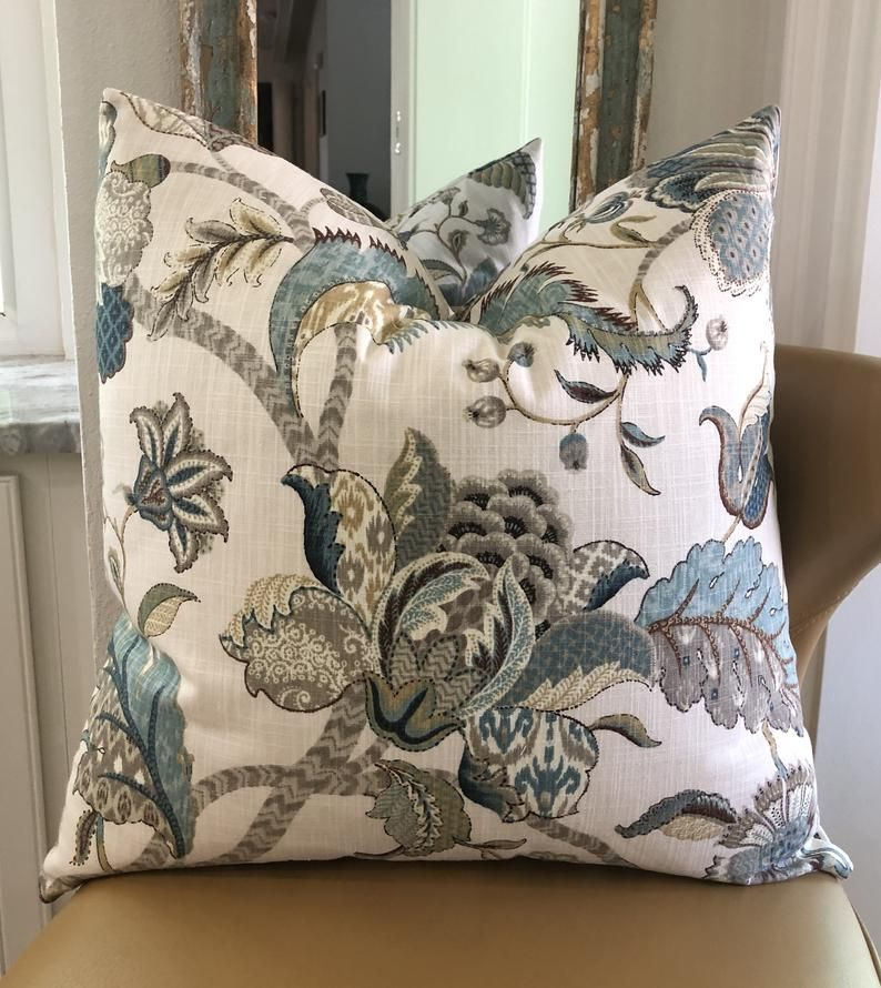 Farmhouse floral decorative pillow cover rustic blue brown