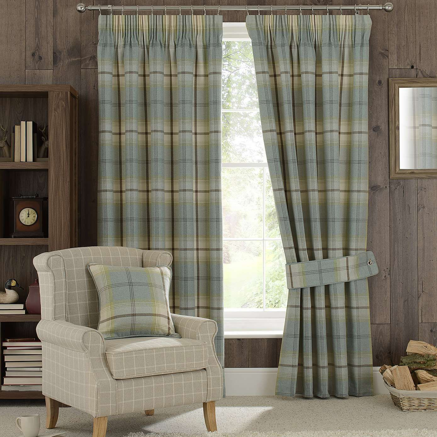 Duck Egg Highland Check Lined Pencil Pleat Curtains