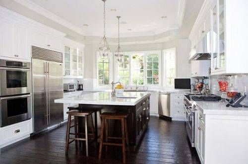 white+kitchen+cabinets+with+wood+island | kitchen white cabinets