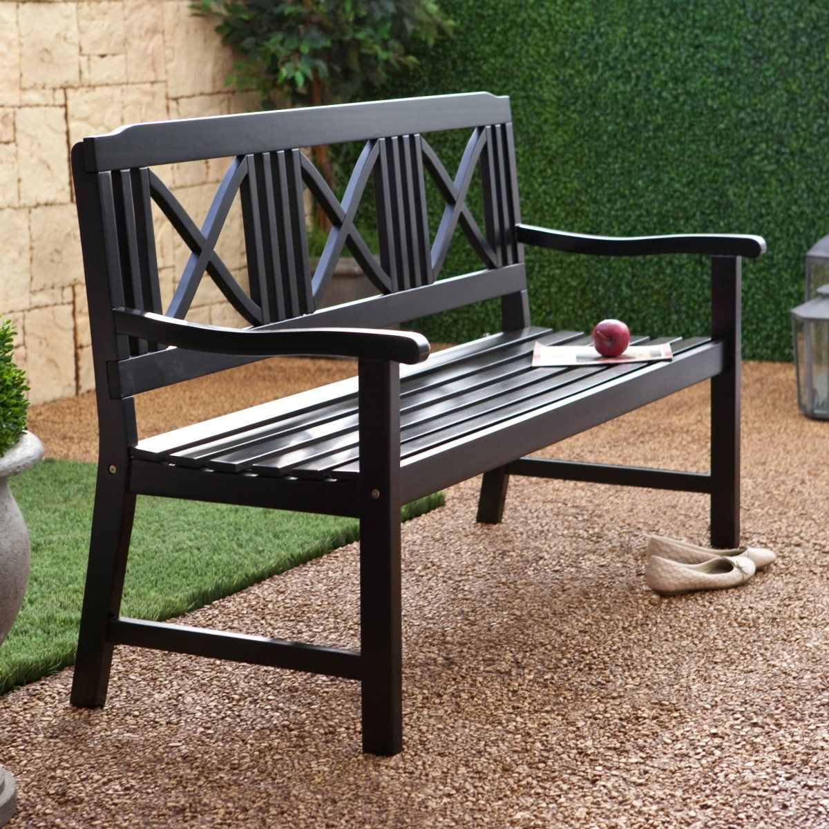 Magnificent Matera 5 Ft Painted Bench Black Backyard Ideas Ncnpc Chair Design For Home Ncnpcorg