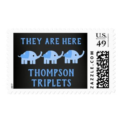Personalized chalkboard elephant triplet boys postage triplets personalized chalkboard elephant triplet boys postage baby gifts giftidea diy unique cute negle Image collections