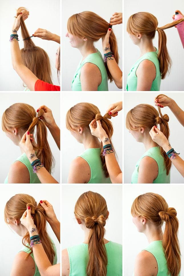 Bow hair with ponytail hair pictorial Produits