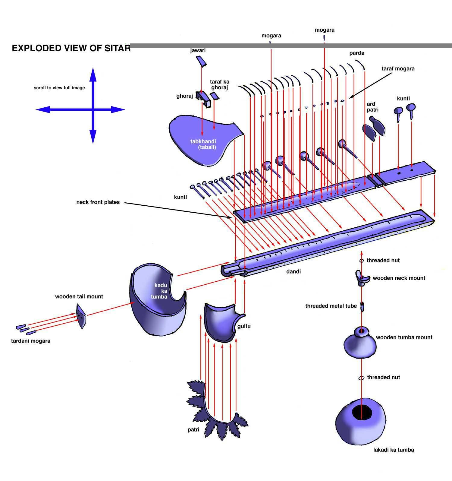 parts of sitar. (exploded view of sitar) | instrumentos ... sitar parts diagram