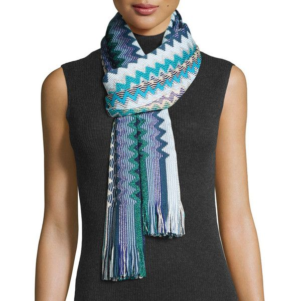 Missoni Metallic Zigzag Scarf ($145) ❤ liked on Polyvore featuring accessories, scarves, accessories scarves, multi blue, missoni, metallic scarves, missoni shawl, zig zag scarves and fringe shawl