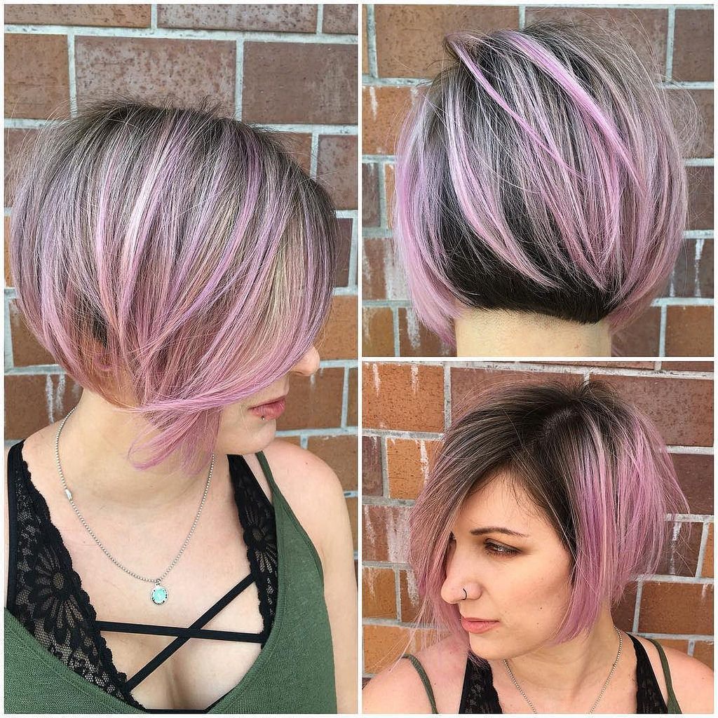 all sizes | angled undercut bob with brunette and pink two