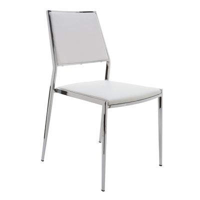 Aaron Stackable White Dining Chair by Nuevo - HGBO175