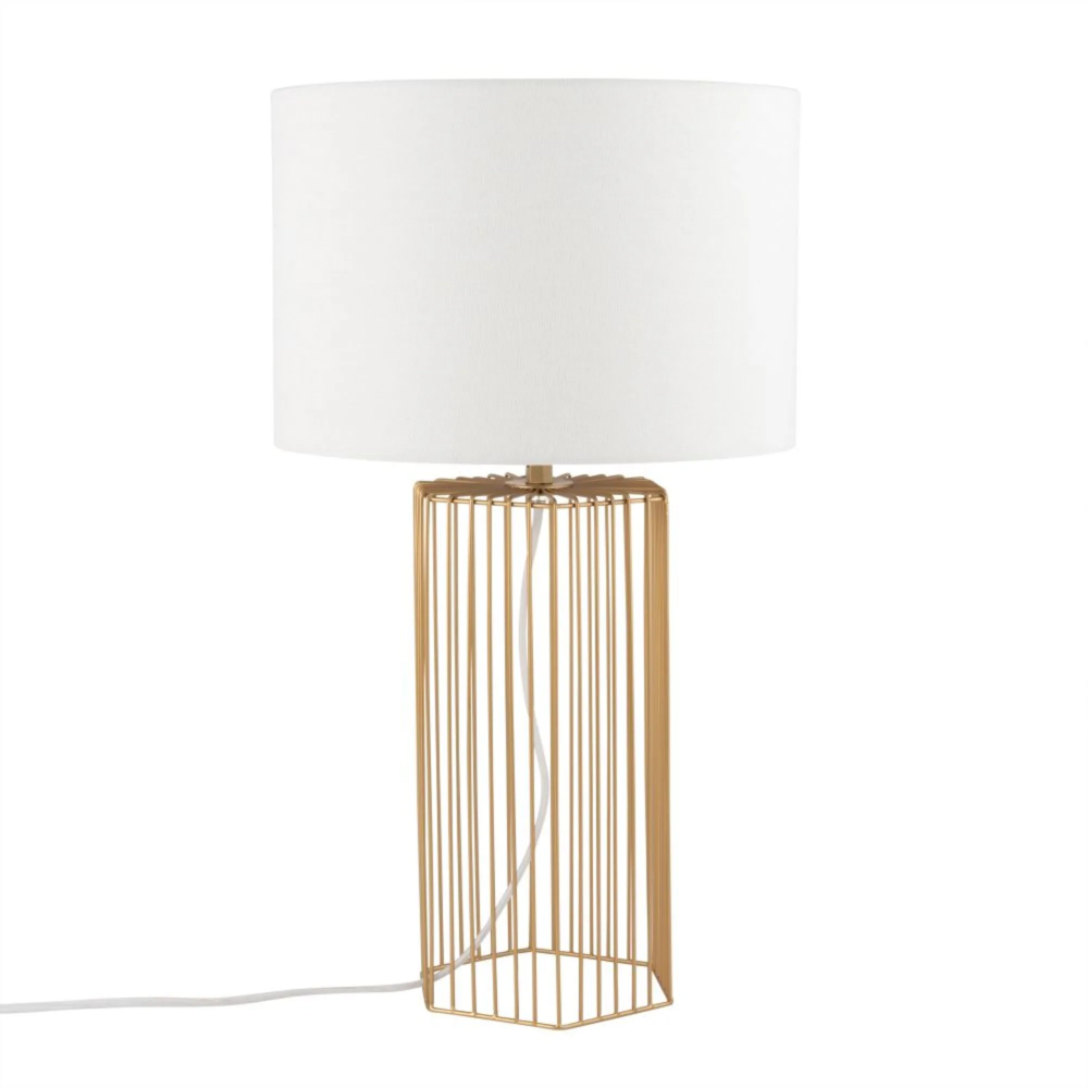 Gold Metal Lamp with White Shade | Maisons du Monde